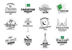 Pakistan Independence day, 14th august. Vector emblems. Royalty Free Stock Photos