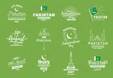 Pakistan Independence day, 14th august. Vector emblems. Royalty Free Stock Images
