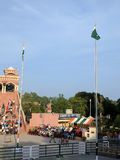 Pakistan India boarder. Flags of Pakistan and India at ganda singh wala border stock photos