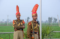 Pakistan India Border Wagha Border Lahore Pakistan. Indian Security Forces on Horses at Wagha Border Royalty Free Stock Photos