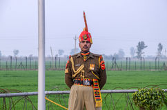 Pakistan India Border Wagha Border Lahore Pakistan on. Indian Security Officer at Wagha Border on 9th December 2016 Stock Photo