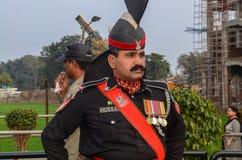 Pakistan India Border Wagha Border Lahore Pakistan. Pakistani Security Officer at Wagha Border, Lahore stock photo