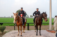 Pakistan India Border Wagha Border Lahore Pakistan. Pakistan Security Forces on Horses at Wagha Border Pakistan Royalty Free Stock Images