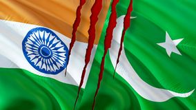 Pakistan and India flags scar concept. Waving flag design,3D rendering. Pakistan India flag picture, wallpaper image. Kashmir stock photo