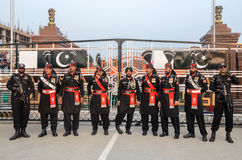 Pakistan-India Wagha Border , Lahore Pakistan on 30 January 2016. Pakistan Security Forces in front of Pakistan India Border Royalty Free Stock Image
