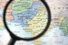 Pakistan on a map. Seen through a magnifying glass Royalty Free Stock Photo