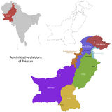 Pakistan map. Administrative division of the Islamic Republic of Pakistan Stock Photo