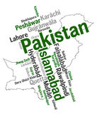 Pakistan map and cities. Pakistan map and words cloud with larger cities royalty free illustration