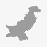 Pakistan map in gray on white background Stock Images