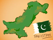 Pakistan Map and National Flag Vector Stock Photos