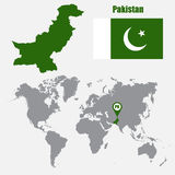 Pakistan map on a world map with flag and map pointer. Vector illustration Royalty Free Stock Image