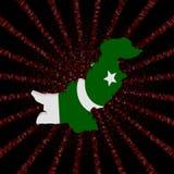 Pakistan mapy flaga na czerwonej hex kodu wybuchu ilustraci Fotografia Stock