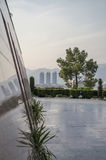 Pakistan Monument Islamabad. Pakistan monument and a view of Centaurus Mall in background Stock Images