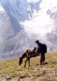 Pakistan mountainside. Trekking in the himalayers Royalty Free Stock Images