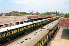 Pakistan Railways. SIALKOT, PAKISTAN - AUGUST 16: Trains standing at Sialkot Railway Station, Pakistan, August 16, 2011. Railways forced to close down key routes stock photos