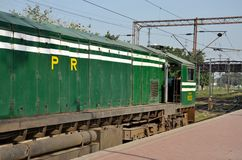Pakistan Railways diesel electric locomotive engine parked at Lahore station Royalty Free Stock Image