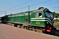Pakistan Railways diesel electric locomotive engine parked at Lahore station stock image