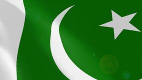Pakistan realistic flag animation. stock illustration