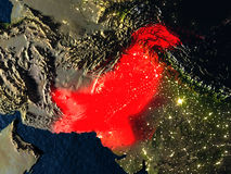 Pakistan in red from space at night Stock Image