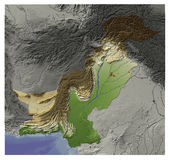Pakistan, relief map. Shaded Relief Map of Pakistan, seen from above Stock Photo
