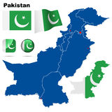 Pakistan set. Detailed country shape with region borders, flags and icons isolated on white background Stock Photo
