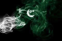 Pakistan smoke flag. On a black background Royalty Free Stock Photography