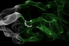 Pakistan smoke flag. Isolated on a black background Royalty Free Stock Images
