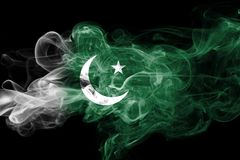 Pakistan smoke flag. Isolated on a black background Stock Photography