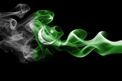 Pakistan smoke flag. Isolated on a black background Royalty Free Stock Photos