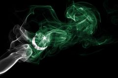 Pakistan smoke flag. Isolated on a black background Royalty Free Stock Photography