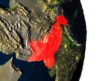 Pakistan from space during dusk Royalty Free Stock Photos