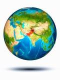 Pakistan ter wereld met witte achtergrond Stock Foto's