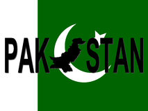 Pakistan text with map Royalty Free Stock Images