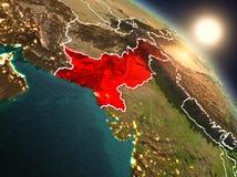 Pakistan van ruimte tijdens zonsopgang Royalty-vrije Stock Fotografie