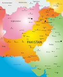 Pakistan. Vector color map of Pakistan country Royalty Free Stock Photos