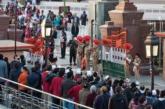 Pakistan Wagah Rabatowa Końcowa ceremonia obrazy royalty free