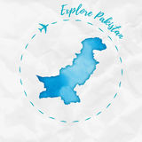 Pakistan watercolor map in turquoise colors. Royalty Free Stock Photo