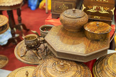 Pakistan wooden furniture. In the shop stock image