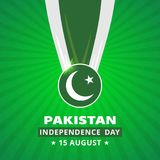 Pakistani Day Medal with Flag on abstract glowing background. Pa. K Wallpaper. New Pakistani Freedom Day 2016. Vector 14 August Pakistan Independence Day Royalty Free Stock Photography
