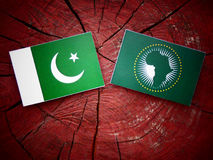 Pakistani flag with African Union flag on a tree stump. Pakistani flag with African Union flag on a tree stump Royalty Free Stock Image