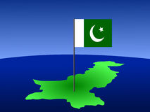 Pakistani flag on map Stock Photo
