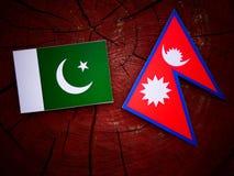 Pakistani flag with Nepali flag on a tree stump isolated. Pakistani flag with Nepali flag on a tree stump Royalty Free Stock Photo