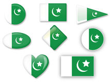 Pakistani flag set Royalty Free Stock Images