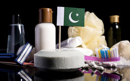 Pakistani flag in the soap with all the products for the people. Hygiene Stock Photos