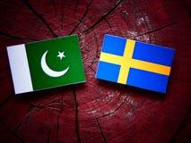 Pakistani flag with Swedish flag on a tree stump. Pakistani flag with Swedish flag on a tree stump Stock Photos
