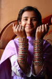 Pakistani girl. Teenage girl showing tradition bridal bangles Stock Images