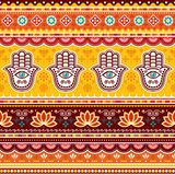 Pakistani or Indian truck art vector seamless pattern with Hamsa hands, decorative truck floral design with flowers and abstract royalty free illustration