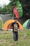 A Pakistani Kid. A kid from a demonstration by Imran Khan stock photo