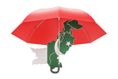 Pakistani map under umbrella. Security and protect or insurance Royalty Free Stock Photo