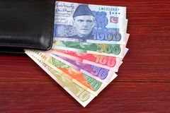 Free Pakistani Money In The Black Wallet Royalty Free Stock Images - 131977929